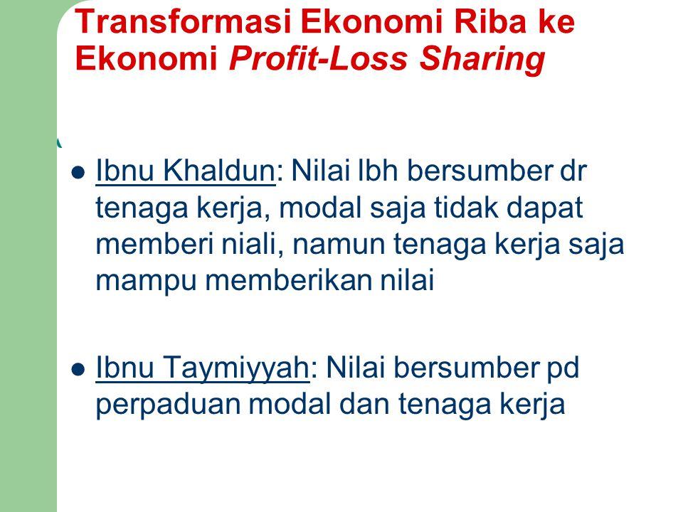 Transformasi Ekonomi Riba ke Ekonomi Profit-Loss Sharing Ibnu Khaldun: Nilai lbh bersumber dr tenaga kerja, modal saja tidak dapat memberi niali, namu