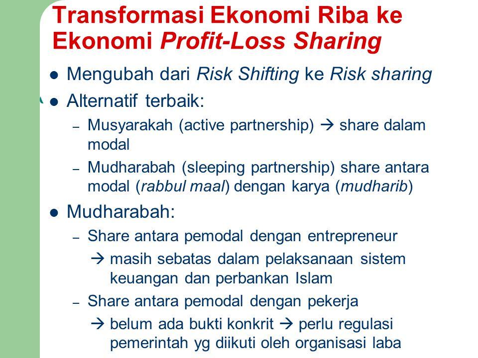 Transformasi Ekonomi Riba ke Ekonomi Profit-Loss Sharing Mengubah dari Risk Shifting ke Risk sharing Alternatif terbaik: – Musyarakah (active partners