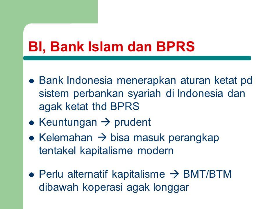 BI, Bank Islam dan BPRS Bank Indonesia menerapkan aturan ketat pd sistem perbankan syariah di Indonesia dan agak ketat thd BPRS Keuntungan  prudent Kelemahan  bisa masuk perangkap tentakel kapitalisme modern Perlu alternatif kapitalisme  BMT/BTM dibawah koperasi agak longgar