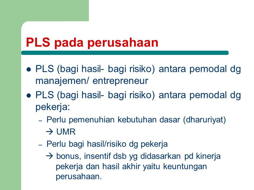 PLS pada perusahaan PLS (bagi hasil- bagi risiko) antara pemodal dg manajemen/ entrepreneur PLS (bagi hasil- bagi risiko) antara pemodal dg pekerja: –