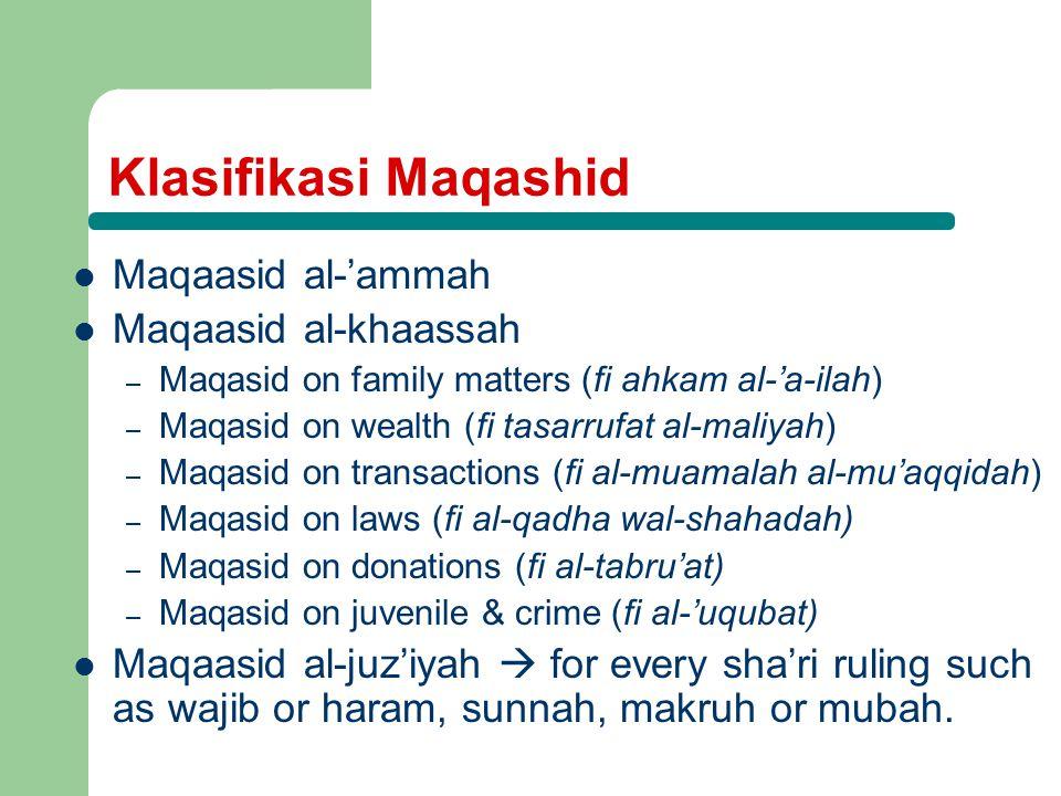 Klasifikasi Maqashid Maqaasid al-'ammah Maqaasid al-khaassah – Maqasid on family matters (fi ahkam al-'a-ilah) – Maqasid on wealth (fi tasarrufat al-maliyah) – Maqasid on transactions (fi al-muamalah al-mu'aqqidah) – Maqasid on laws (fi al-qadha wal-shahadah) – Maqasid on donations (fi al-tabru'at) – Maqasid on juvenile & crime (fi al-'uqubat) Maqaasid al-juz'iyah  for every sha'ri ruling such as wajib or haram, sunnah, makruh or mubah.