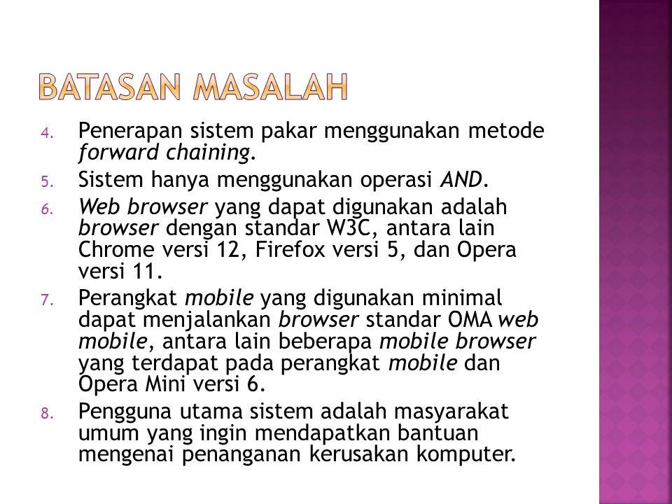 4. Penerapan sistem pakar menggunakan metode forward chaining. 5. Sistem hanya menggunakan operasi AND. 6. Web browser yang dapat digunakan adalah bro