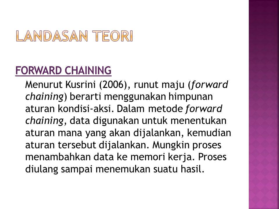 Menurut Kusrini (2006), runut maju (forward chaining) berarti menggunakan himpunan aturan kondisi-aksi. Dalam metode forward chaining, data digunakan