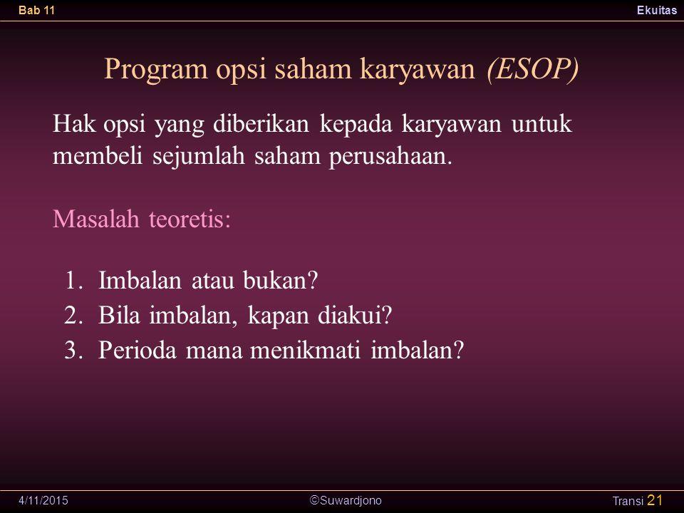  Suwardjono Bab 11Ekuitas 4/11/2015 Transi 21 Program opsi saham karyawan (ESOP) 1.Imbalan atau bukan.