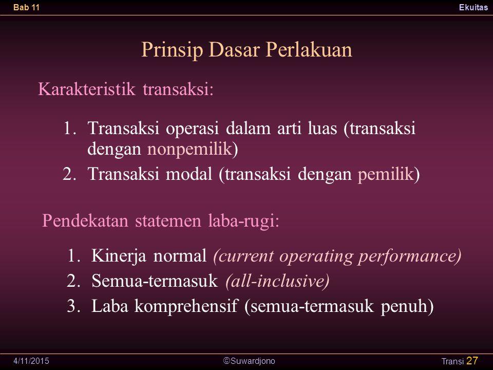  Suwardjono Bab 11Ekuitas 4/11/2015 Transi 27 Prinsip Dasar Perlakuan 1.Transaksi operasi dalam arti luas (transaksi dengan nonpemilik) 2.Transaksi m