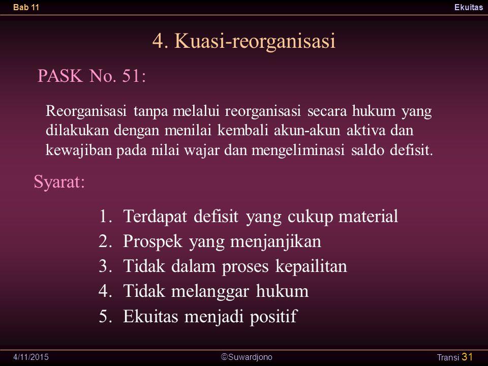  Suwardjono Bab 11Ekuitas 4/11/2015 Transi 31 4. Kuasi-reorganisasi PASK No. 51: Syarat: 1.Terdapat defisit yang cukup material 2.Prospek yang menjan