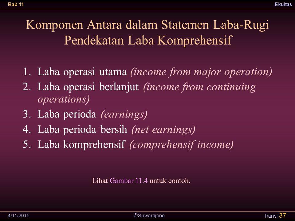  Suwardjono Bab 11Ekuitas 4/11/2015 Transi 37 Komponen Antara dalam Statemen Laba-Rugi Pendekatan Laba Komprehensif 1.Laba operasi utama (income from