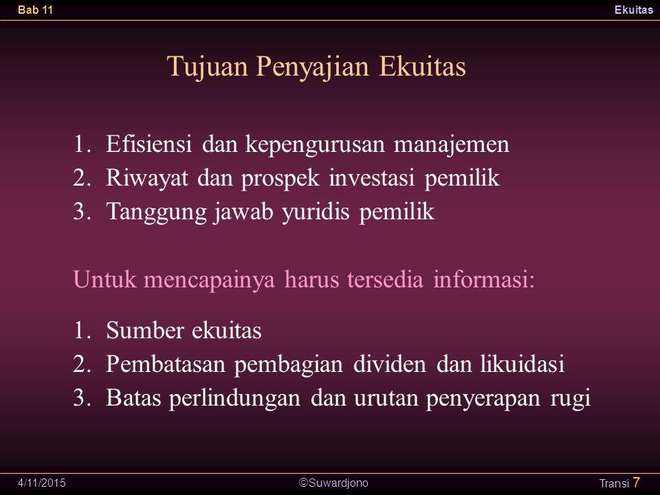  Suwardjono Bab 11Ekuitas 4/11/2015 Transi 7 Tujuan Penyajian Ekuitas 1.Efisiensi dan kepengurusan manajemen 2.Riwayat dan prospek investasi pemilik