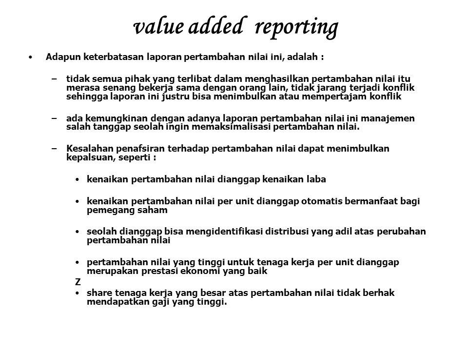 value added reporting Adapun keterbatasan laporan pertambahan nilai ini, adalah : –tidak semua pihak yang terlibat dalam menghasilkan pertambahan nila