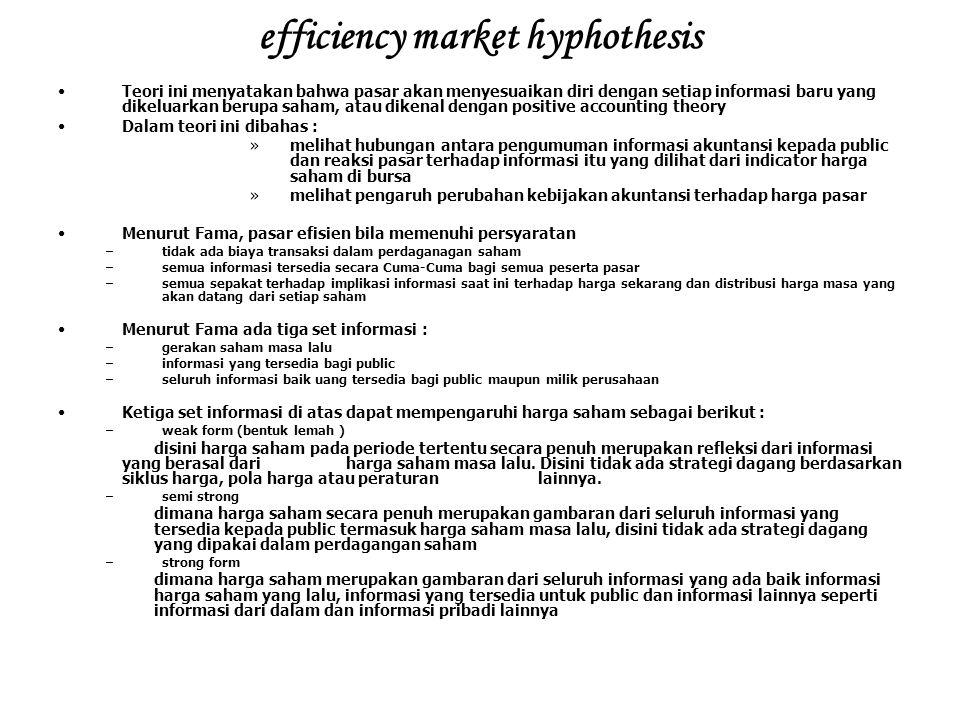 efficiency market hyphothesis Teori ini menyatakan bahwa pasar akan menyesuaikan diri dengan setiap informasi baru yang dikeluarkan berupa saham, atau
