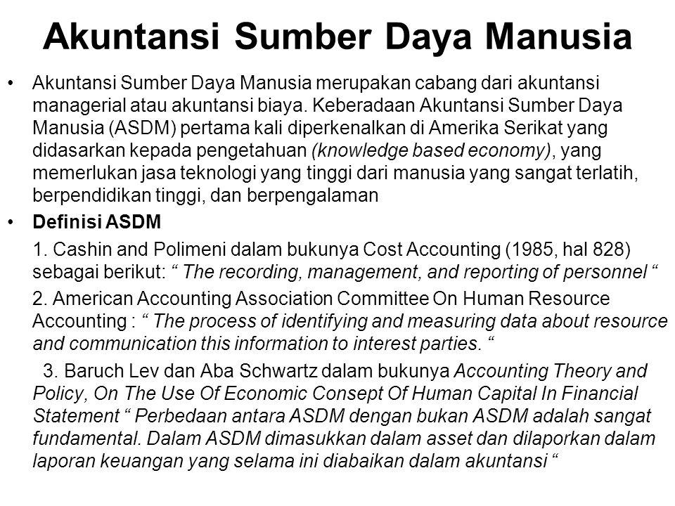 Akuntansi Sumber Daya Manusia Akuntansi Sumber Daya Manusia merupakan cabang dari akuntansi managerial atau akuntansi biaya. Keberadaan Akuntansi Sumb
