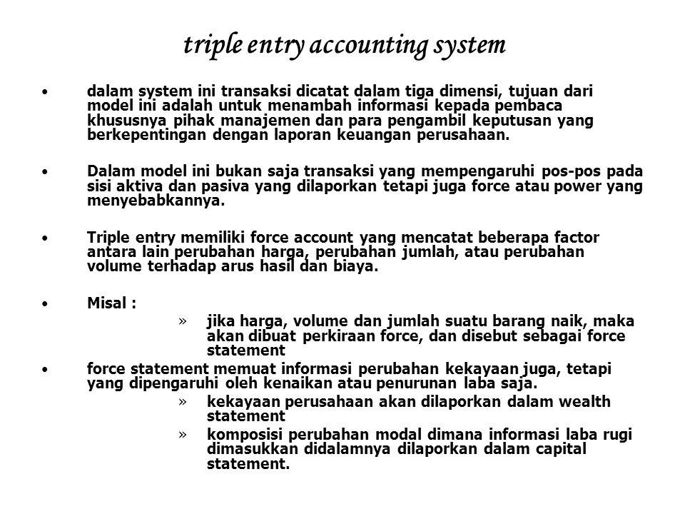 triple entry accounting system dalam system ini transaksi dicatat dalam tiga dimensi, tujuan dari model ini adalah untuk menambah informasi kepada pem
