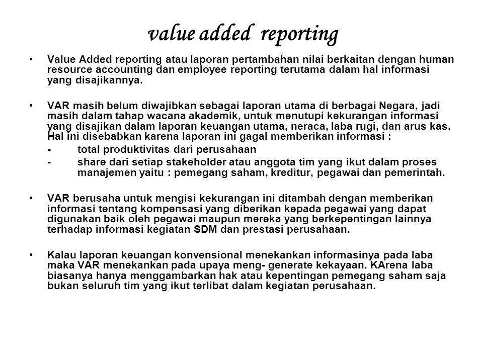 value added reporting Value Added reporting atau laporan pertambahan nilai berkaitan dengan human resource accounting dan employee reporting terutama