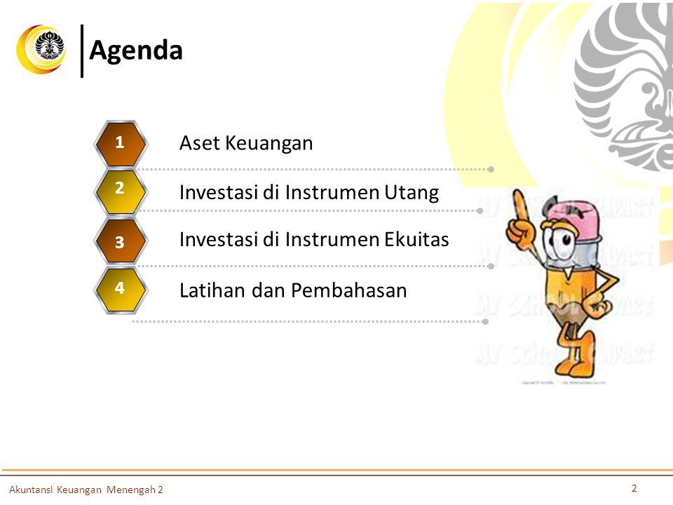 Agenda Aset Keuangan 1 Investasi di Instrumen Utang 2 3 4 5 2 Akuntansi Keuangan Menengah 2 Investasi di Instrumen Ekuitas 3 Latihan dan Pembahasan 4