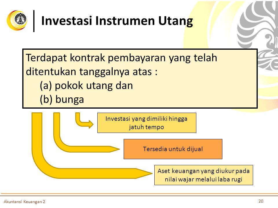 Investasi Instrumen Utang 20 Akuntansi Keuangan 2 Terdapat kontrak pembayaran yang telah ditentukan tanggalnya atas : (a) pokok utang dan (b) bunga As