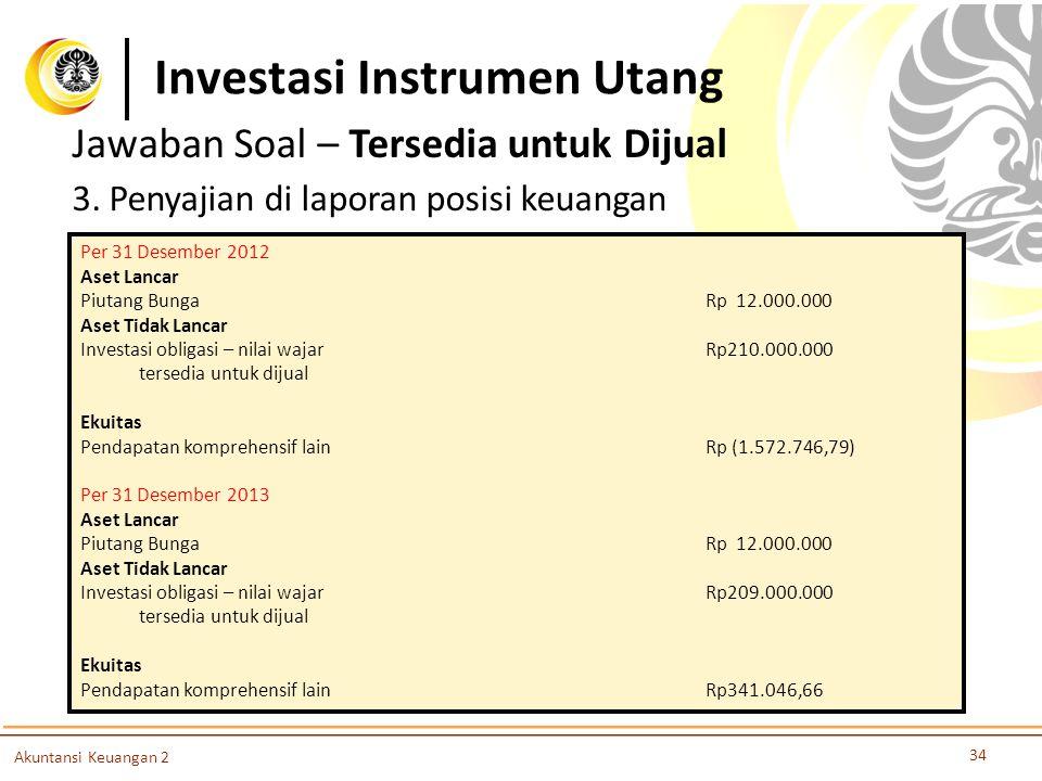 Investasi Instrumen Utang 34 Akuntansi Keuangan 2 Jawaban Soal – Tersedia untuk Dijual 3. Penyajian di laporan posisi keuangan Per 31 Desember 2012 As