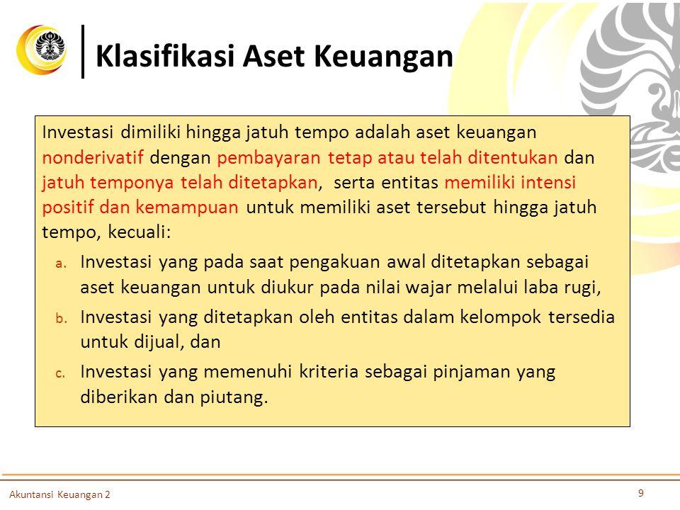 Klasifikasi Aset Keuangan 9 Akuntansi Keuangan 2 Investasi dimiliki hingga jatuh tempo adalah aset keuangan nonderivatif dengan pembayaran tetap atau
