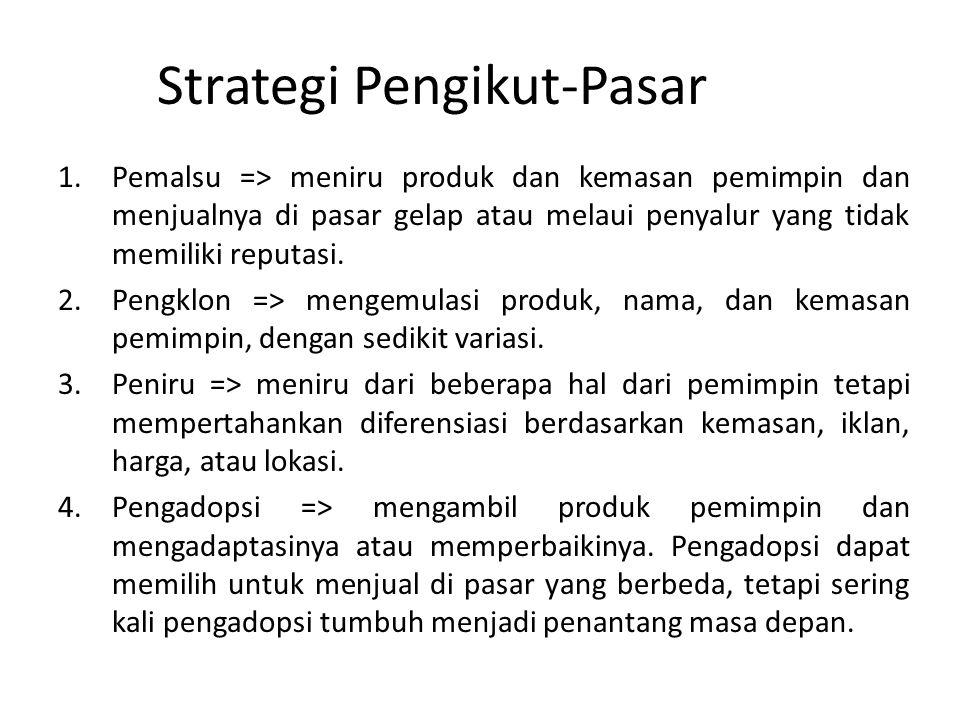 Strategi Pengikut-Pasar 1.Pemalsu => meniru produk dan kemasan pemimpin dan menjualnya di pasar gelap atau melaui penyalur yang tidak memiliki reputasi.