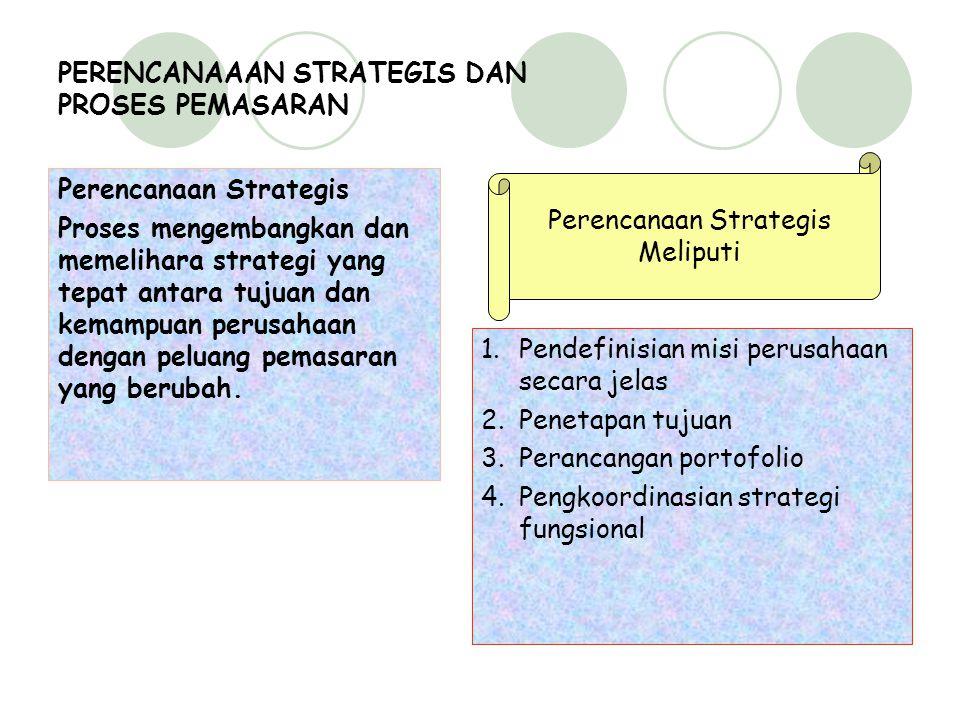 PERENCANAAAN STRATEGIS DAN PROSES PEMASARAN Perencanaan Strategis Proses mengembangkan dan memelihara strategi yang tepat antara tujuan dan kemampuan