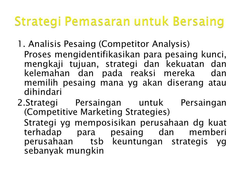 1. Analisis Pesaing (Competitor Analysis) Proses mengidentifikasikan para pesaing kunci, mengkaji tujuan, strategi dan kekuatan dan kelemahan dan pada