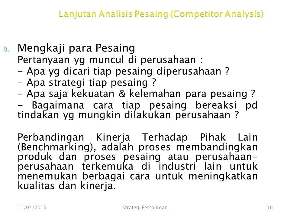 Lanjutan Analisis Pesaing (Competitor Analysis) b. Mengkaji para Pesaing Pertanyaan yg muncul di perusahaan : - Apa yg dicari tiap pesaing diperusahaa