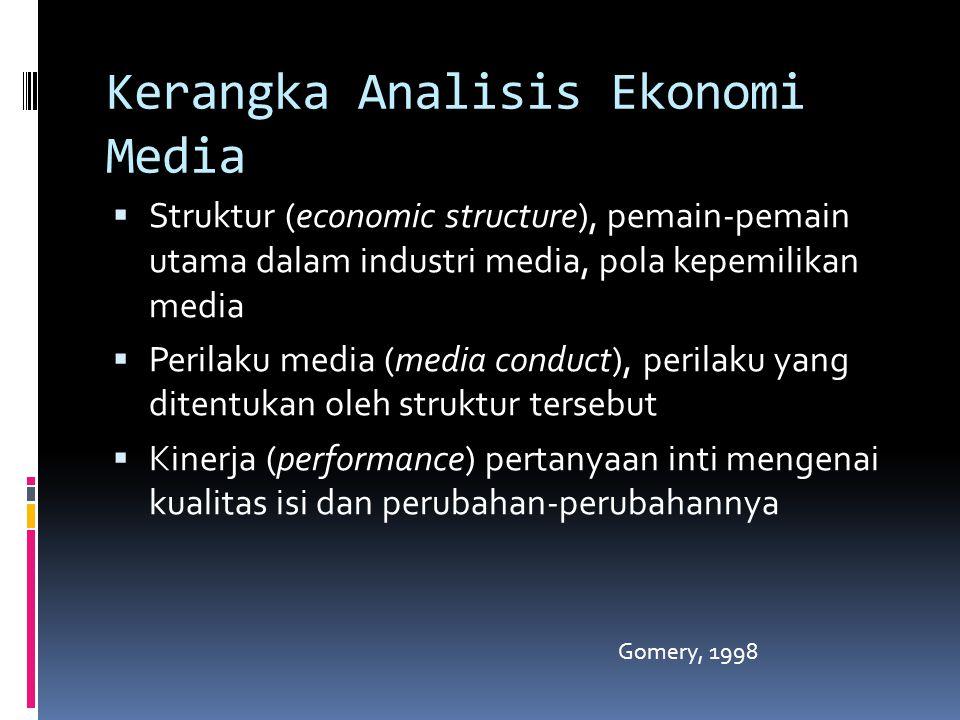 Kerangka Analisis Ekonomi Media  Struktur (economic structure), pemain-pemain utama dalam industri media, pola kepemilikan media  Perilaku media (media conduct), perilaku yang ditentukan oleh struktur tersebut  Kinerja (performance) pertanyaan inti mengenai kualitas isi dan perubahan-perubahannya Gomery, 1998