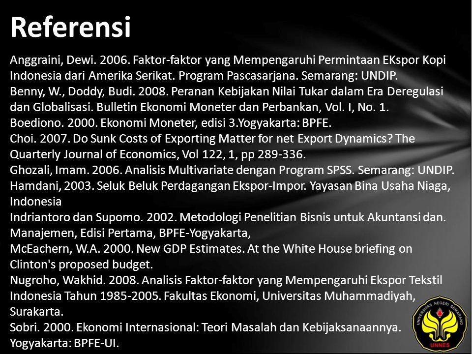 Referensi Anggraini, Dewi. 2006. Faktor-faktor yang Mempengaruhi Permintaan EKspor Kopi Indonesia dari Amerika Serikat. Program Pascasarjana. Semarang