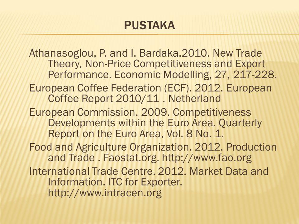 PUSTAKA Athanasoglou, P. and I. Bardaka.2010. New Trade Theory, Non-Price Competitiveness and Export Performance. Economic Modelling, 27, 217-228. Eur