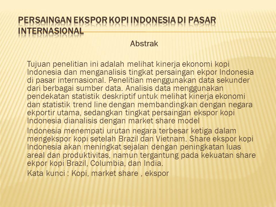 Abstrak Tujuan penelitian ini adalah melihat kinerja ekonomi kopi Indonesia dan menganalisis tingkat persaingan ekpor Indonesia di pasar internasional