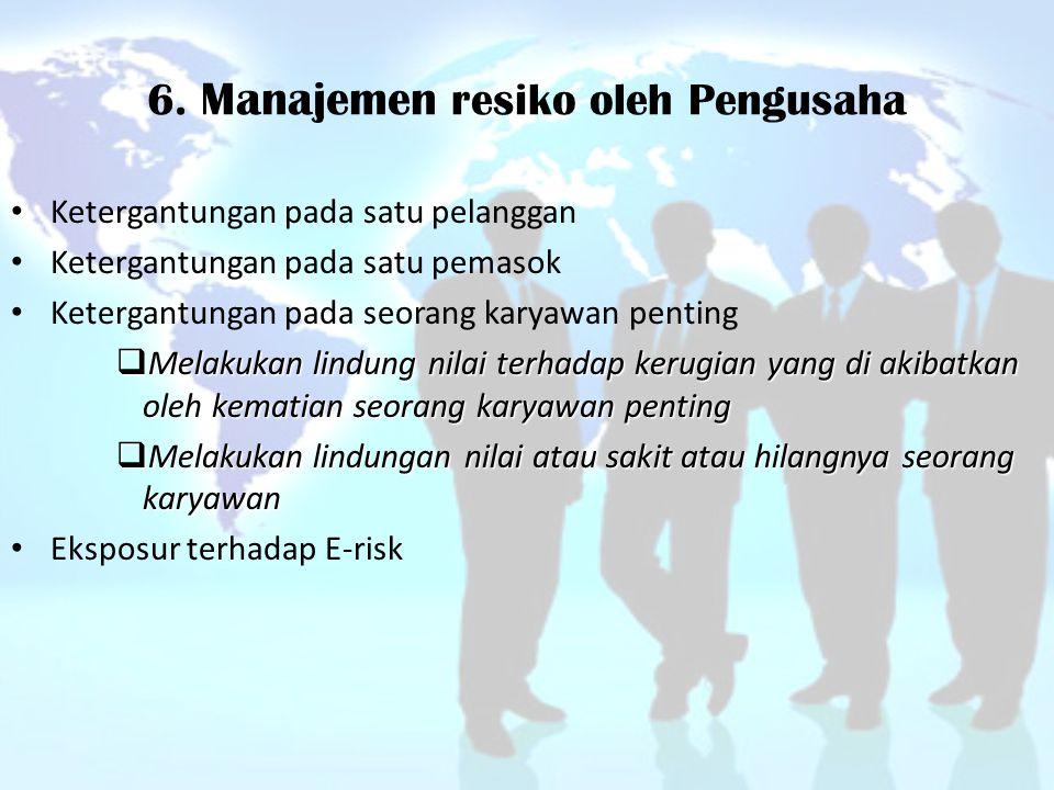 6. Manajemen resiko oleh Pengusaha Ketergantungan pada satu pelanggan Ketergantungan pada satu pemasok Ketergantungan pada seorang karyawan penting 