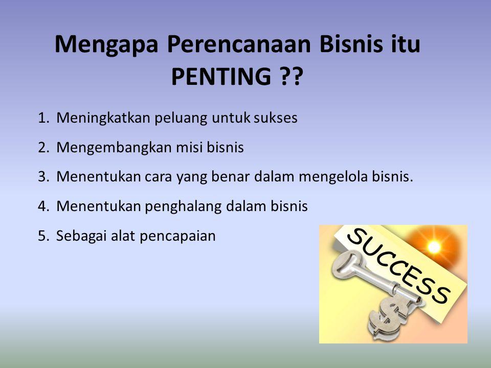 Mengapa Perencanaan Bisnis itu PENTING ?? 1.Meningkatkan peluang untuk sukses 2.Mengembangkan misi bisnis 3.Menentukan cara yang benar dalam mengelola