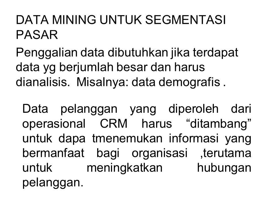 DATA MINING UNTUK SEGMENTASI PASAR Penggalian data dibutuhkan jika terdapat data yg berjumlah besar dan harus dianalisis. Misalnya: data demografis. D
