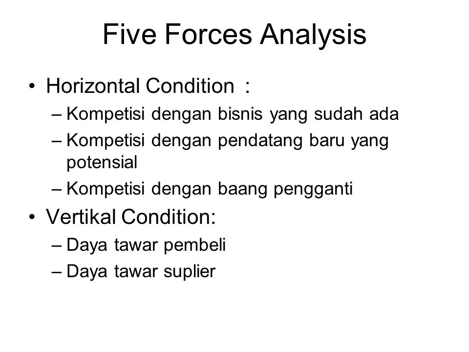 Five Forces Analysis Horizontal Condition : –Kompetisi dengan bisnis yang sudah ada –Kompetisi dengan pendatang baru yang potensial –Kompetisi dengan