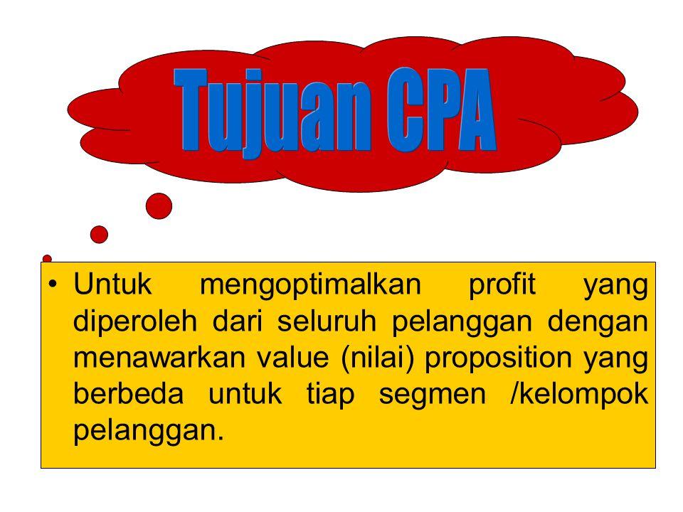 CPA mengidentifikasi pasar utk memperoleh peluang profit di masa depan Pelanggan dibedakan dalam dua konteks : produsen, penjual, organisasi atau institusi (non profit/pemerintah) individu atau rumah tangga