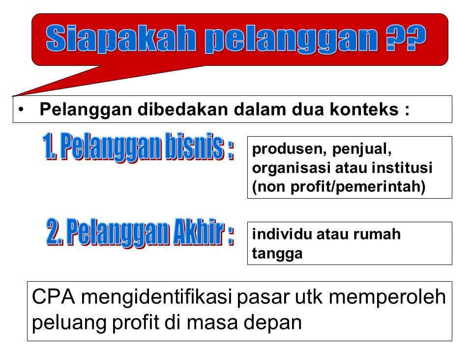 CPA mengidentifikasi pasar utk memperoleh peluang profit di masa depan Pelanggan dibedakan dalam dua konteks : produsen, penjual, organisasi atau inst