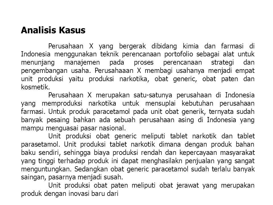 Analisis Kasus Perusahaan X yang bergerak dibidang kimia dan farmasi di Indonesia menggunakan teknik perencanaan portofolio sebagai alat untuk menunja