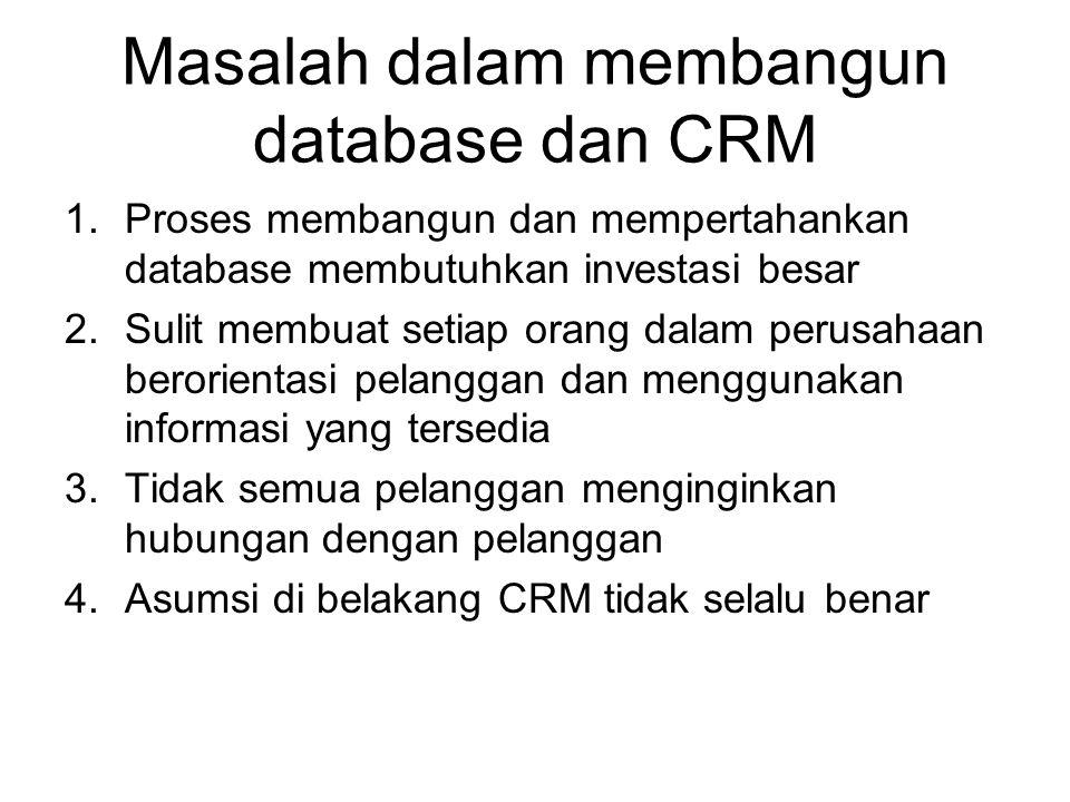 Masalah dalam membangun database dan CRM 1.Proses membangun dan mempertahankan database membutuhkan investasi besar 2.Sulit membuat setiap orang dalam