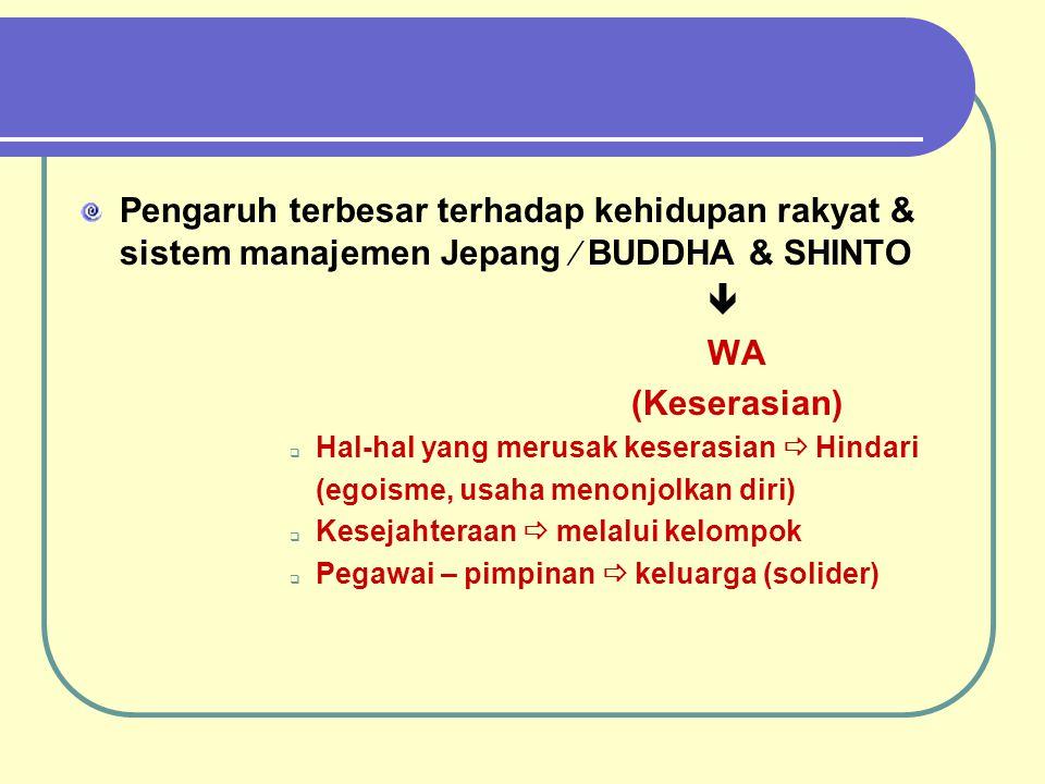Pengaruh terbesar terhadap kehidupan rakyat & sistem manajemen Jepang  BUDDHA & SHINTO  WA (Keserasian)  Hal-hal yang merusak keserasian  Hindari