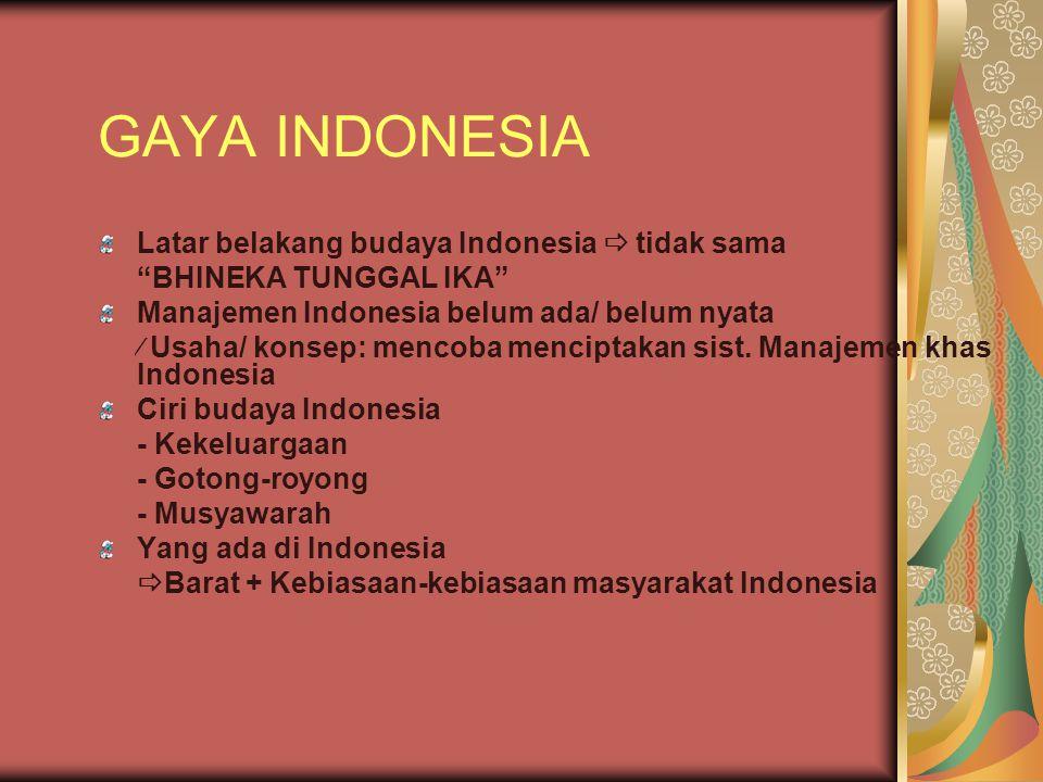 "GAYA INDONESIA Latar belakang budaya Indonesia  tidak sama ""BHINEKA TUNGGAL IKA"" Manajemen Indonesia belum ada/ belum nyata  Usaha/ konsep: mencoba"