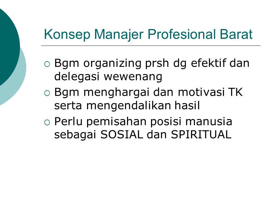 Konsep Manajer Profesional Barat  Bgm organizing prsh dg efektif dan delegasi wewenang  Bgm menghargai dan motivasi TK serta mengendalikan hasil  P