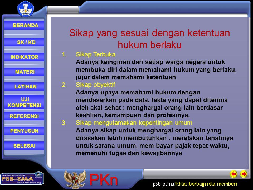 psb-psma Ikhlas berbagi rela memberi REFERENSI LATIHAN MATERI PENYUSUN INDIKATOR SK / KD UJI KOMPETENSI BERANDA SELESAIPKn Sikap yang sesuai dengan ke