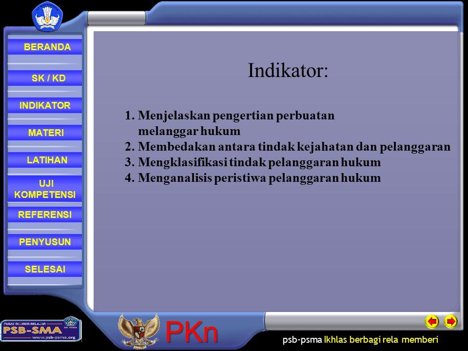 psb-psma Ikhlas berbagi rela memberi REFERENSI LATIHAN MATERI PENYUSUN INDIKATOR SK / KD UJI KOMPETENSI BERANDA SELESAIPKn Indikator: 1. Menjelaskan p