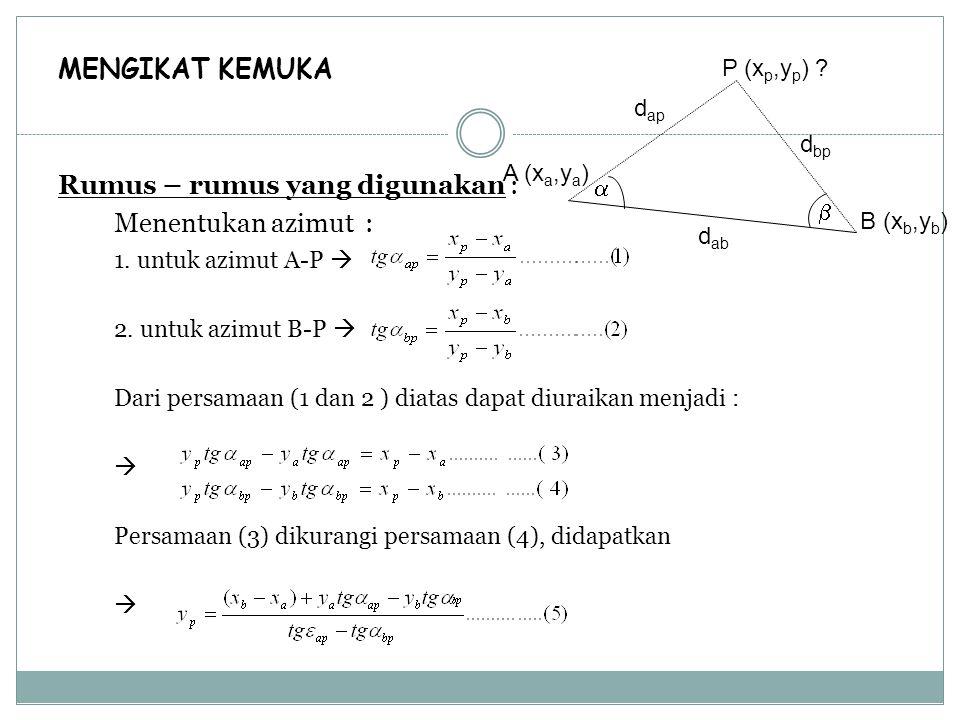 MENGIKAT KEMUKA Rumus – rumus yang digunakan : Menentukan azimut : 1. untuk azimut A-P  2. untuk azimut B-P  Dari persamaan (1 dan 2 ) diatas dapat