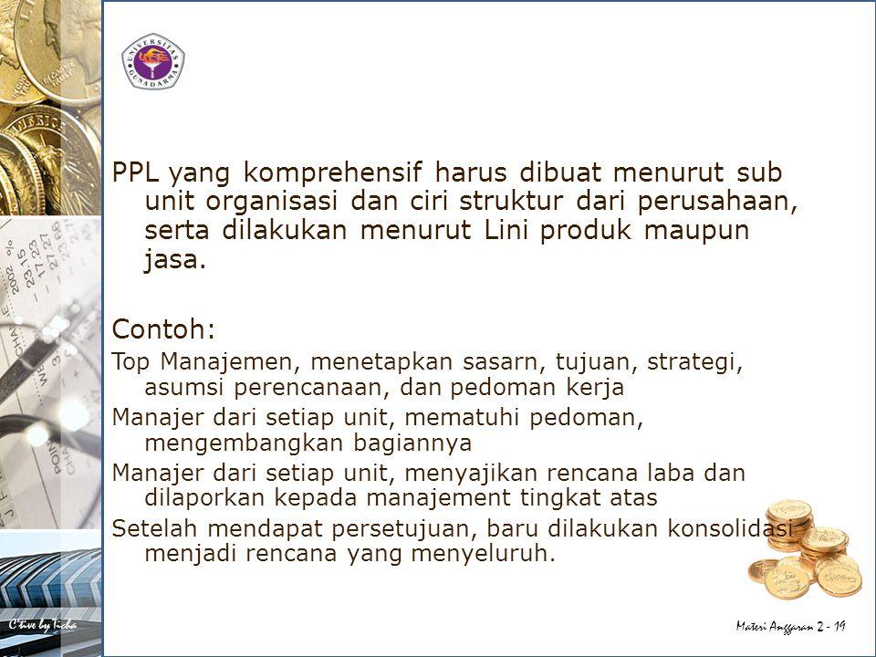 C'tive by Ticha Materi Anggaran 2 - 19 PPL yang komprehensif harus dibuat menurut sub unit organisasi dan ciri struktur dari perusahaan, serta dilakukan menurut Lini produk maupun jasa.