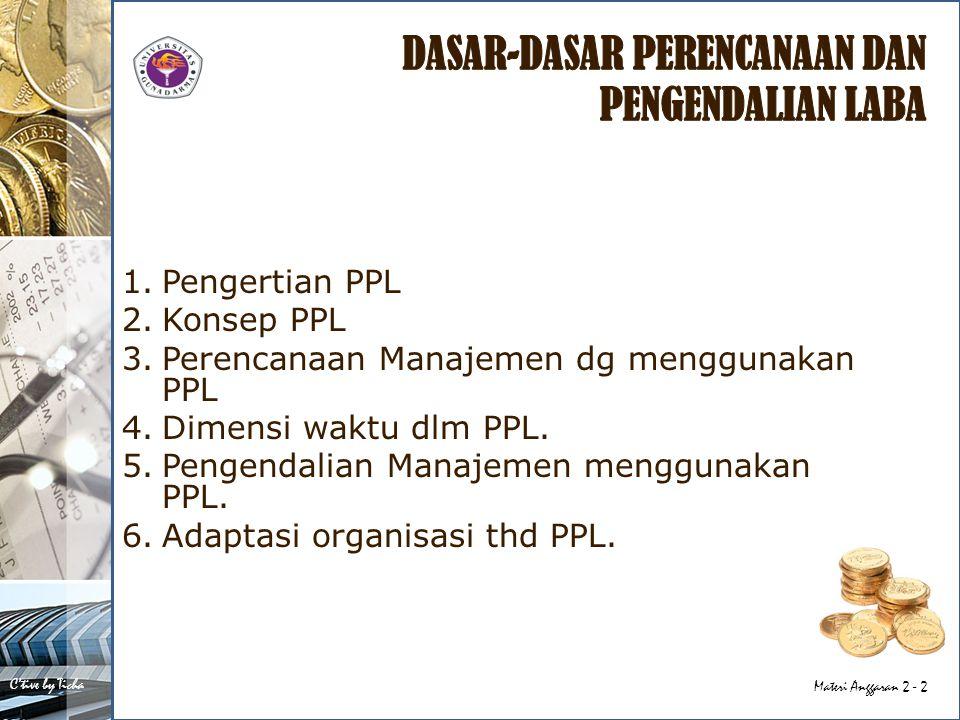 C'tive by Ticha Materi Anggaran 2 - 2 1.Pengertian PPL 2.Konsep PPL 3.Perencanaan Manajemen dg menggunakan PPL 4.Dimensi waktu dlm PPL. 5.Pengendalian