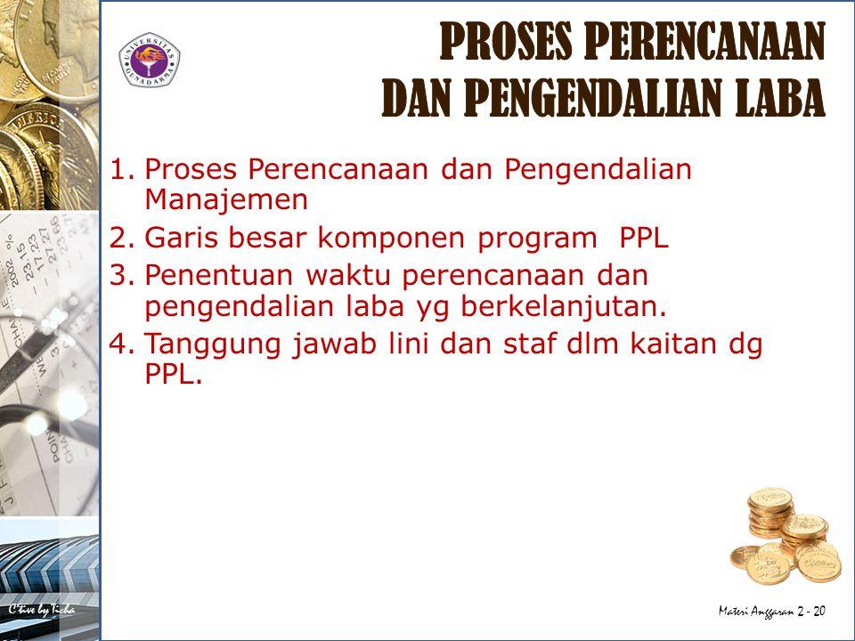 C'tive by Ticha Materi Anggaran 2 - 20 1.Proses Perencanaan dan Pengendalian Manajemen 2.Garis besar komponen program PPL 3.Penentuan waktu perencanaan dan pengendalian laba yg berkelanjutan.