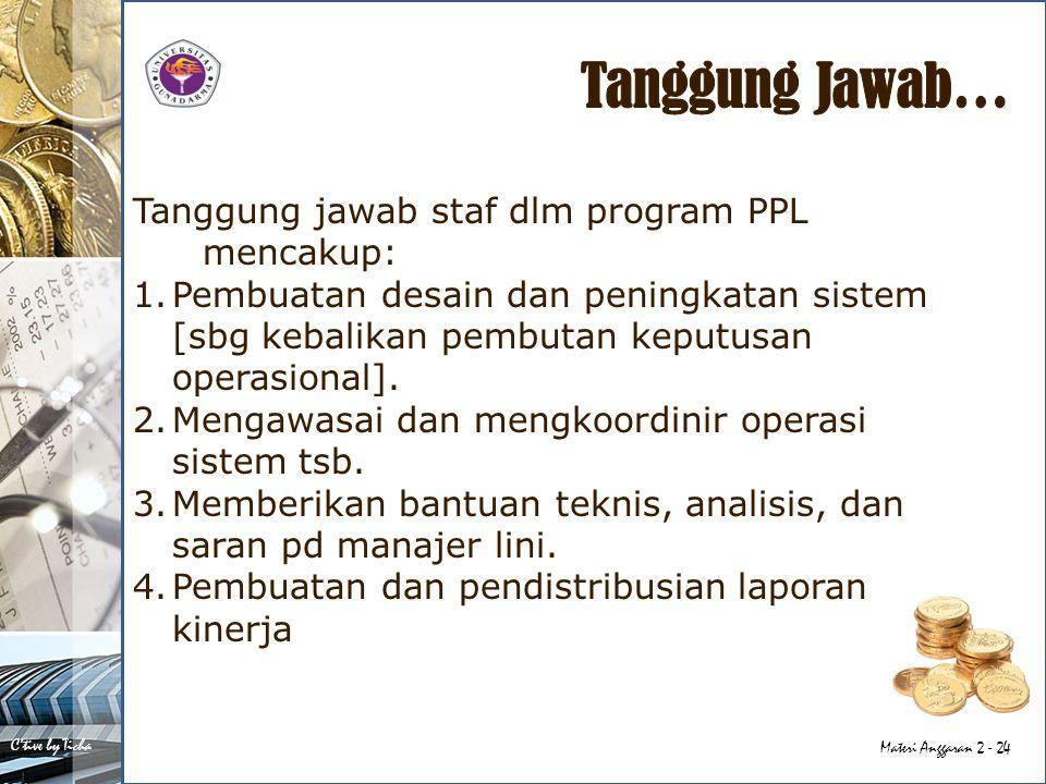 C'tive by Ticha Materi Anggaran 2 - 24 Tanggung jawab staf dlm program PPL mencakup: 1.Pembuatan desain dan peningkatan sistem [sbg kebalikan pembutan keputusan operasional].