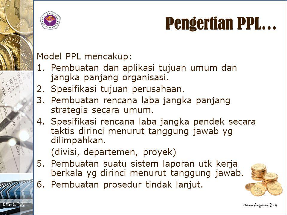 C'tive by Ticha Materi Anggaran 2 - 4 Model PPL mencakup: 1.Pembuatan dan aplikasi tujuan umum dan jangka panjang organisasi. 2.Spesifikasi tujuan per