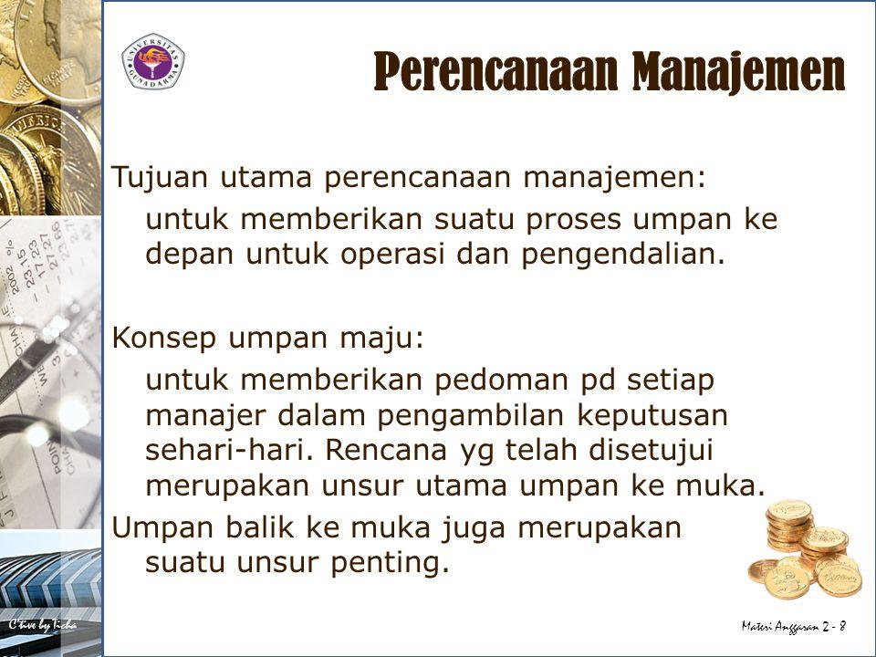 C'tive by Ticha Materi Anggaran 2 - 8 Tujuan utama perencanaan manajemen: untuk memberikan suatu proses umpan ke depan untuk operasi dan pengendalian.