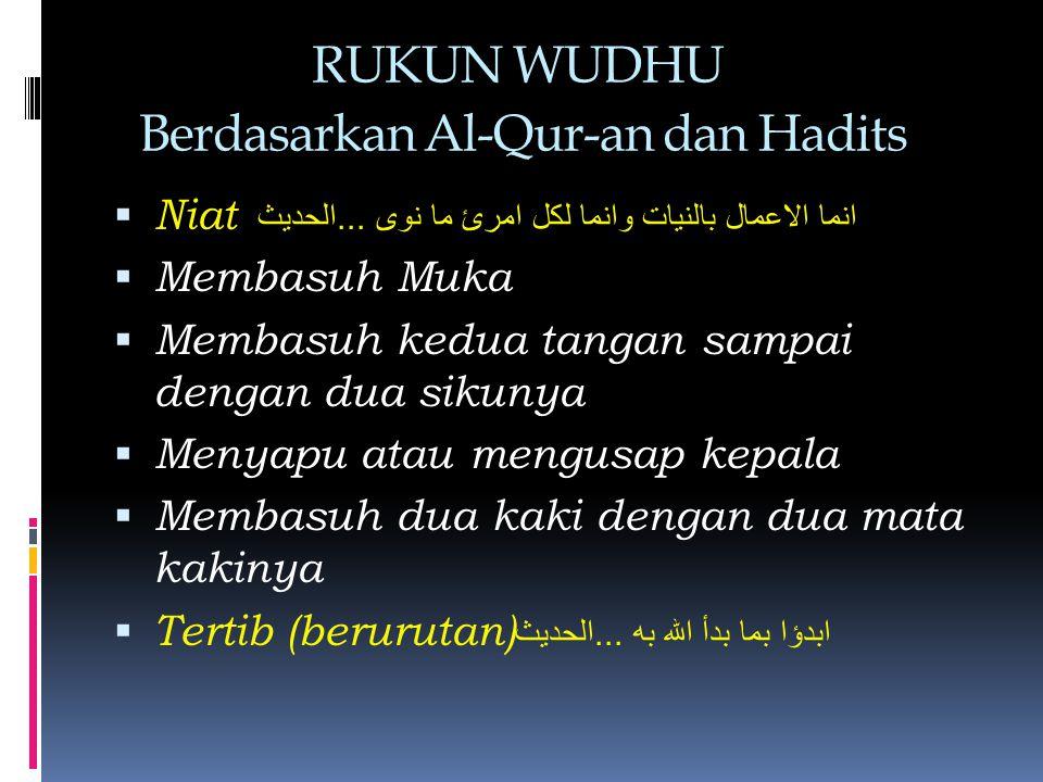 RUKUN WUDHU Berdasarkan Al-Qur-an dan Hadits  Niat انما الاعمال بالنيات وانما لكل امرئ ما نوى...